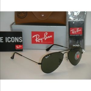 New Rayban Aviator 3025 Polarized Black/Green 58mm